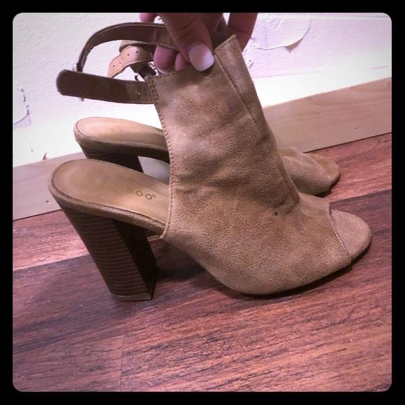 BAMBOO Shoes - Sued Peep Toe Heel